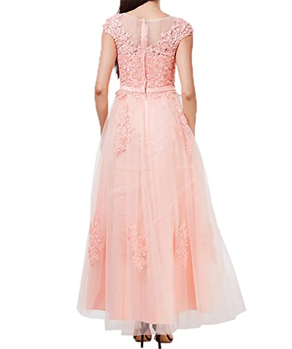 Brautmutterkleider Damen Pfirsisch Prinzess Abendkleider Rock Kurzarm Hundkragen Dunkel A Charmant Partykleider Spitze Linie 7XHndd0x