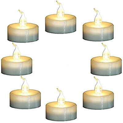 Topstone Flameless Flickering Candles with Timer,6 Hours On and 18 Hours Off in Cycle,Battery Operated Warm White LED Tea Light Candles,for Valentine's Day Wedding Party Home Decor,Pack of 8