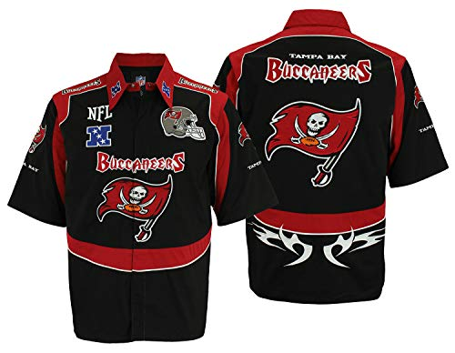 Reebok NFL Men's Tampa Bay Buccaneers Short Sleeve Collared Shirt, Black -