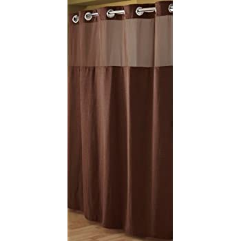 Hookless RBH52D229 Fabric Shower Curtain With Built In Liner Chocolate Brown