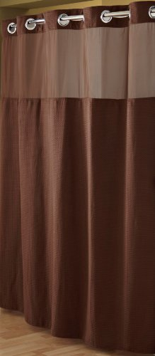 Hookless RBH52D229 Fabric Shower Curtain with Built in Liner  -Chocolate Brown