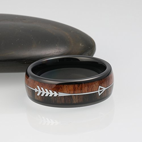 iTungsten 8mm Black Tungsten Carbide Rings for Men Women Wedding Bands Koa Wood Arrow Inlay Engagement Hunting Ring by iTungsten (Image #5)