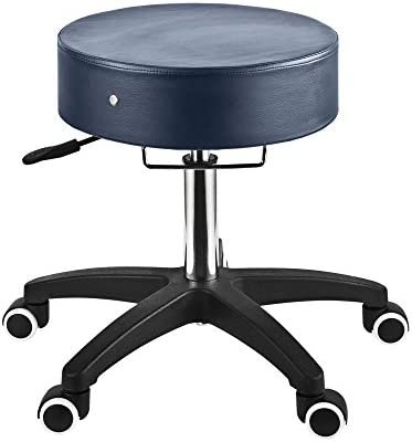 Master Massage Deluxe Glider Rolling Stool, Larger Seat Better Wheels With Grab Bar, Royal Blue