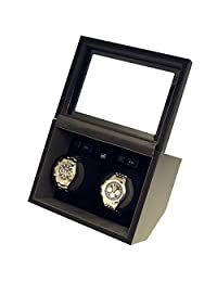 Unisex Dual Automatic Watch Winder Box in Wood with Matte Black Finish