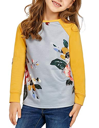 Lookbook Store Girls Lovely Patchwork Floral Print Spliced Crew Neck Sweatshirt Pullover Tops Size XX-Large Yellow (Fits 12-13 Years) -