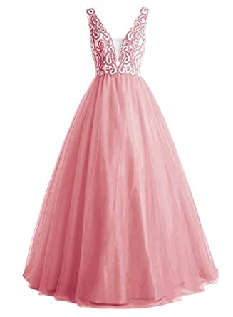 Women's Beading Long A Line Prom Evening Party Gown Homecoming Dress Coral US 14
