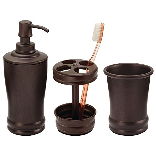 mDesign Metal Bathroom Vanity Countertop Accessory Set - Includes Refillable Soap Dispenser, Divided Toothbrush Stand, Tumbler Rinsing Cup - 3 Pieces - ()