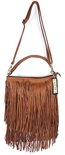 Both 3 Kek00 Tassel Fringes With on GFM Style Bag Shoulder Tassels Faux Leather Sides Tan Soft bag zwW1p6