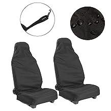 NEVERLAND Front Seat Covers Universal Car Van Black Waterproof Protectors Muddy Black Pack of 2