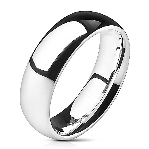 UNUStyle CHOOSE Your Width 3mm-8mm Stainless Steel Glossy Mirror Polished Traditional Dome Wedding Band Ring (6mm - Size 8) -