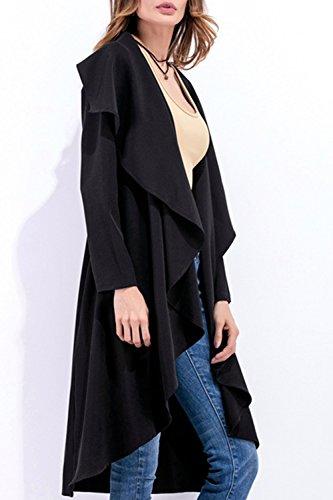 Cardigan Trenchcoat Vêtements Large Haut Bas En Irrégulier Black De Femmes Revers Les aH8xzq