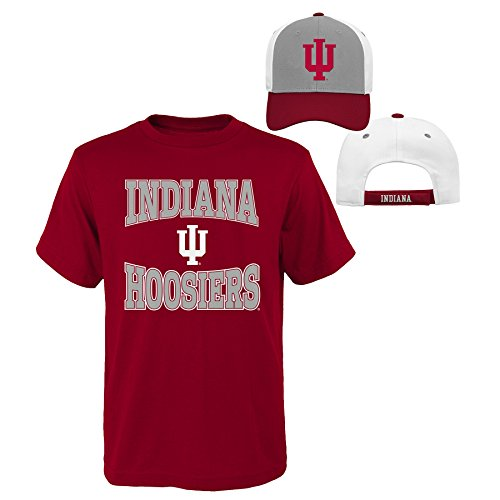 NCAA Indiana Hoosiers Youth Boys 8-20 Tee & Hat Set, Small (8), Assorted Colors