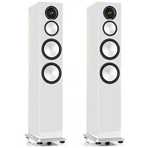 Monitor Audio Silver 10 - Par de caixas acústicas Torre 3-vias para Home Theater Branco Laqueado