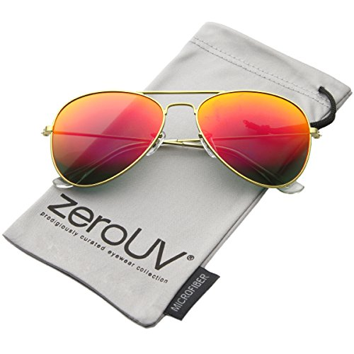 Premium Flash Mirror Lens Aviator Sunglasses (Nickel Plated Metal Frame) (Gold/Red Mirror) (Mirrored Aviators Red)