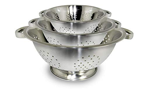 Satyaki Steels Stainless Steel Set of 3 Colander Washing Hole Bowl for Kitchen Accessories and Storage