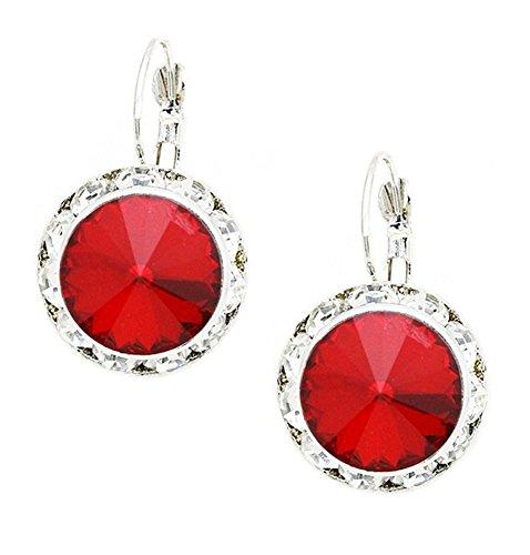 Bright Red Rhinestone Dangle Drop Earrings, Clear Rhinestone Border, Lever Back, 1 -
