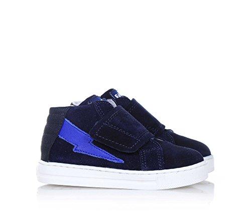 FALCOTTO - Chaussure bleue en suède et tissu, avec fermeture en velcro, logo à l'arrière et sur la languette, applications en cuir latérales, garçon, garçons