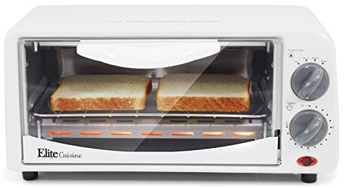 Elite Cuisine ETO-224 Personal 2 Slice Countertop Toaster Oven with 15 Minute Timer Includes Pan and Wire Rack, Bake, Broil, Toast (Bake Cheapest Easy Oven)