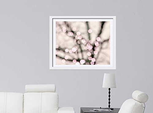 Abstract Art, Lighted Tree Photography, Pale Pink Fairy Sparkles, Pastel Nursery Decor, Baby Girl Room Artwork, Modern Wall Picture