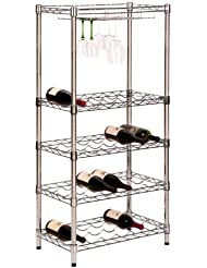 Honey Can Do SHF 02922 5 Tier Steel Wire Urban Wine Bottle Rack With 24 Cradles And 4 Caddies 24 By 49 Inch