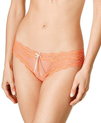 Heidi By Heidi Klum Womens Mesh And Lace Dot Cheeky Bikini  Small  Fusion Coral
