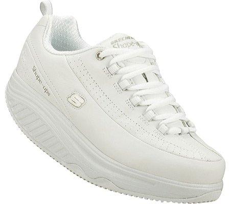 Skechers for Work Women's Shape Ups Slip Resistant Sneaker,White,10 M (Skechers Shape)