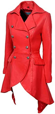 EDWARDIAN Ladies Women Red WASHED Real Napa Leather Jacket Coat Gothic 3491-P
