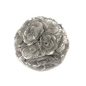 Ben Collection Fabric Artificial Flowers Silk Rose Pomander Wedding Party Home Decoration Kissing Ball Trendy Color Simulation Flower (Silver, 25cm) 108