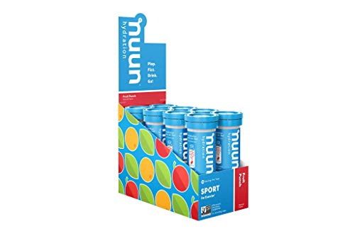 Nuun Sport: Electrolyte-Rich Sports Drink Tablets, Fruit Punch, Box of 8 Tubes (80 servings), Sports Drink for Replenishment of Essential Electrolytes Lost Through Sweat (Best Fruit Punch Brand)