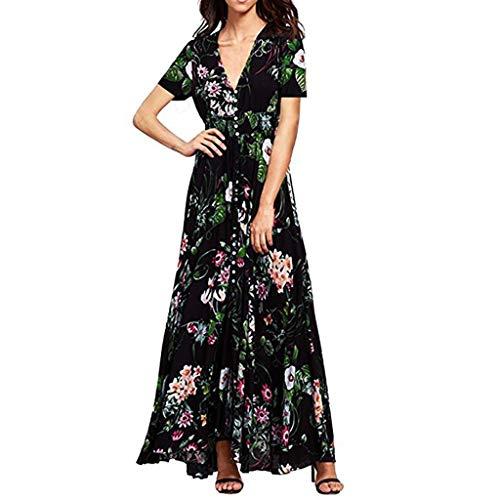 HAALIFE◕‿Women's Floral Maxi Dresses Boho Button Up Split Beach Party Dress ()