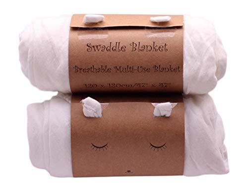 2 Pk Baby Muslin Swaddle Blanket Wraps - Soft Bamboo & Organic Cotton ()