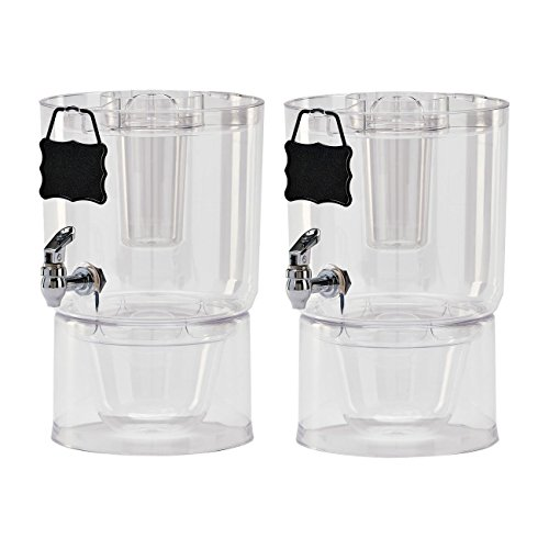 2 Pack Cold Beverage Drink Dispenser Stackable 1.75 Gallon with Chalkboard Label -