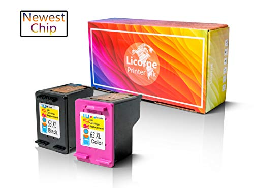 Licorne 63XL Remanufactured Ink Cartridge Combo Pack Compatible for HP 63XL 63 XL High Yield (Black & Color) for HP Deskjet 1112 2130 3630 Officejet 3830 4650 Envy 4520 4512 Printer