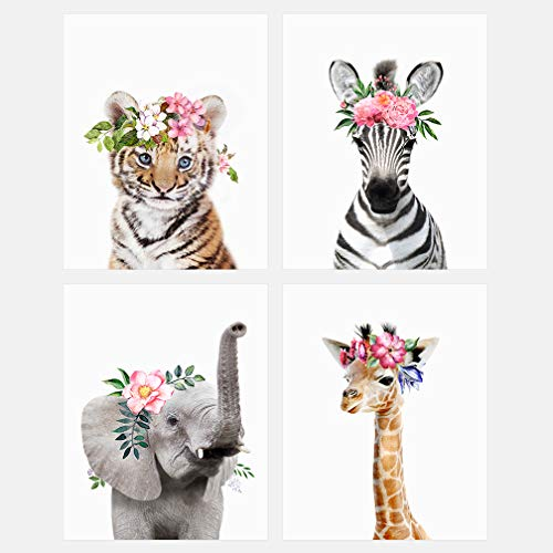 The Art Studio by Amy Peterson Baby Animals with Flower Crowns 8x10 Prints - Set of 4 - Adorable Furry Baby Animal Portrait - Tiger Cub, Elephant, Giraffe, Zebra - Nursery Decor Unframed Prints