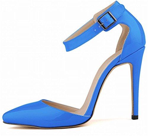 Cheville Talon Sexy Vernis Bleu Bride Pointu 11 Escarpins Chaussure Soirée Mode PU Mariage Bout Sandale Cuir wealsex Femme Talon de Cm Boucle Aiguille waxtCUnq