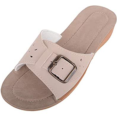 ABSOLUTE FOOTWEAR Womens Light Weight Slip On Summer/Holiday Wedge Sandals/Mule/Shoes - Beige - US 5