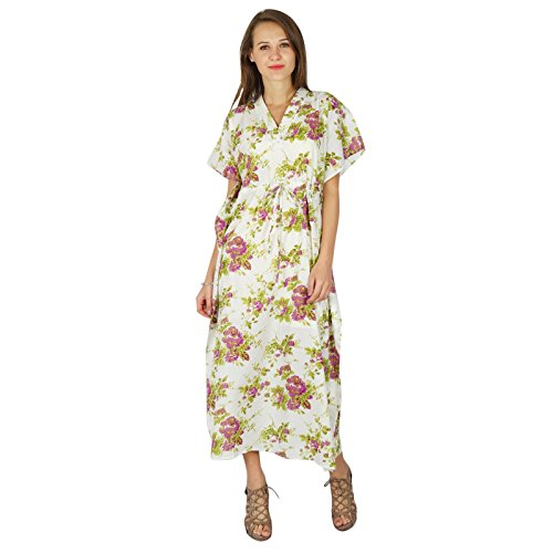 Femmes Vtement Nuitcoton De Imprime Blanc De Caftan Maxi Robe Phagun Bohemian Rose et 4dTX0xd