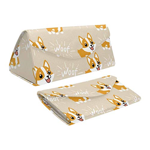 InterestPrint Cute Cartoon Welsh Corgi Dog Collapsible Triangle Case for Sunglasses Goggles Reading Frame