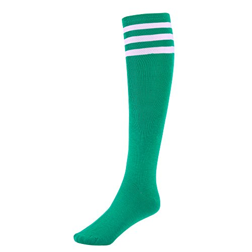 Mystylees Women's Green Knee High Striped Socks with Three White Stripes]()