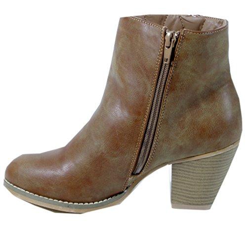 trendBOUTIQUE - botas de vaquero de material sintético mujer - Gray - zwei Reißverschlüsse - khaki