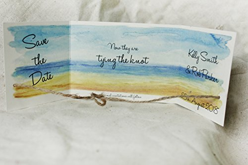 Beach themed save the dates, tying the knot cards -