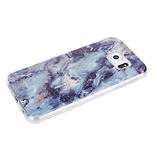 Funda Galaxy S6 edge,SainCat Moda Alta Calidad suave de TPU Silicona Suave Funda Carcasa Caso Parachoques Diseño pintado Patrón para Carcasas Samsung Galaxy S6 edge TPU Silicona Flexible Candy Colors  Tinta roca azul