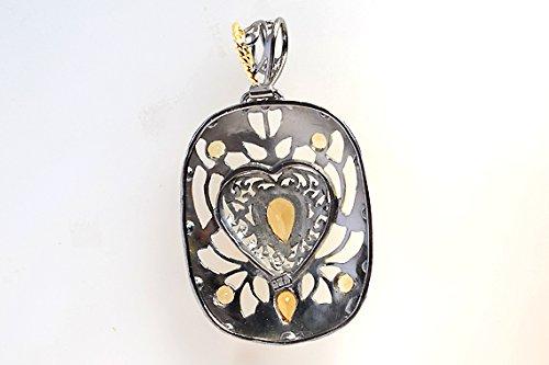 Trending Citrine Gemstone 925 Sterling Silver Black Rhodium Gold Plated Pendant For Women FSJ-363