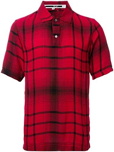 Alexander McQueen New 265 RED Tartan Plaid Wool Blend Woven Polo Shirt Size M