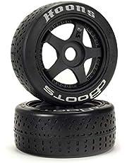 "ARRMA DBoots Hoons 42/100mm Silver Belted RC Tires Mounted on 2.9"" 5-Spoke 17mm Hex Wheels (Set of 2): ARA550070, Black"