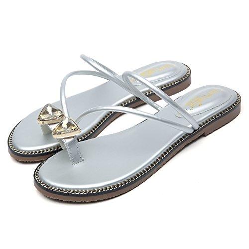 ITTXTTI Sandalen Unterseite und Hausschuhe Frauen Flache Unterseite Sandalen Strass Prise Mode Tragen Damen Sandalen Flach mit Strand Schuhe Einfach heiß  fea7cb