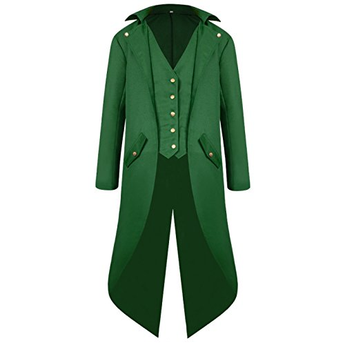 ULUIKY Mens Gothic Tailcoat Steampunk Jacket Victorian Costume Tuxedo Uniform Halloween Costume (M, Green) ()