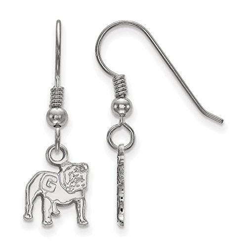 925 Sterling Silver Officially Licensed University College of Georgia Mini Small Dangle Wire Earrings by Mia Diamonds and Co.