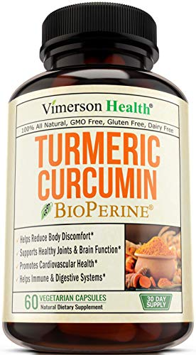 Turmeric Curcumin with Bioperine. Anti-Inflammatory and Antioxidant Supplement with Standardized Curcuminoids and 10 milligrams of Black Pepper. Natural, Non-GMO Joint Pain Relief. 60 Capsules