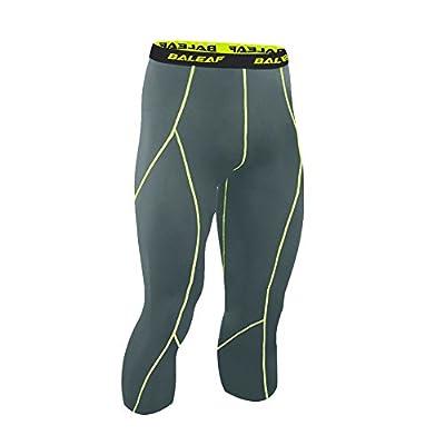 Baleaf Men's Running Workout Tight 3/4 Compression Baselayer Capri